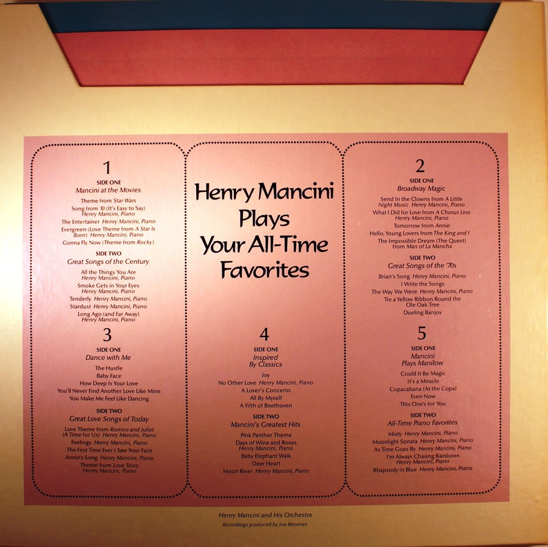 Henry Mancini Plays Your All-Time Favorites/ vintage vinyl/ Records / 33 &  1/3 RPM/ Instrumental music/ love Songs/ Movie Music/ Broadway