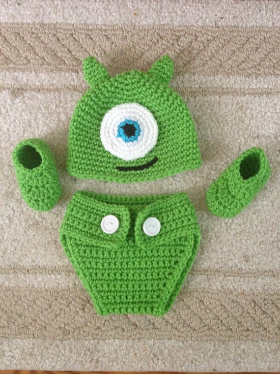 589be868b2d Crocheted Baby Monsters Inc Mike Inspired Hat