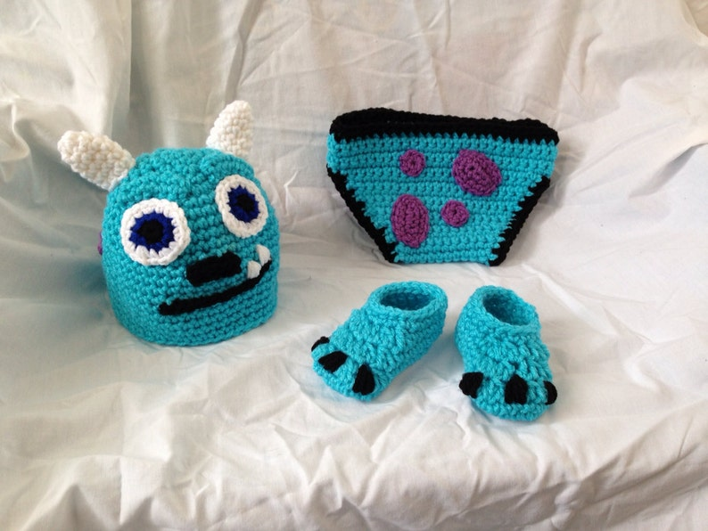 255c3a6ecc1 Crocheted Baby Monsters Inc Sully Inspired Hat