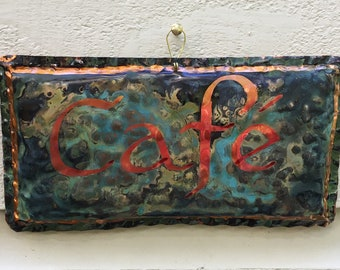 Cafe copper sign -- with calligraphy and verdigris green patina -- OOAK
