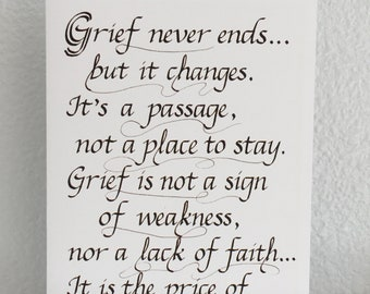 """Sympathy Calligraphy Card (5"""" x 7"""") -- Grief Quote Card, Sympathy Card, card size 5 x 7 inches, blank inside"""