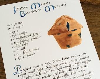 Jordan Marsh Blueberry Muffins Recipe -- Calligraphy Art Print, Kitchen Decor, Food Art, Kitchen Art Recipe, Illustrated Muffin Recipe