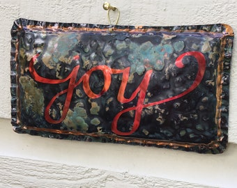 Joy copper sign -- with calligraphy and verdigris green patina -- OOAK