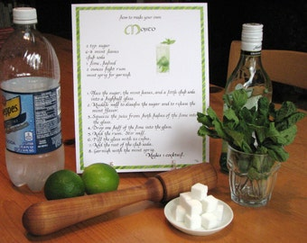 Mojito Cocktail Recipe -- Calligraphy Art Print -- Bar Recipe, Make Your Own Cocktail, Bar Decor, Drink Art, Illustrated Cocktail Recipe