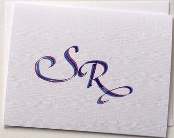 Custom Calligraphy Initials Note Cards - Set of 10, Designed & Handwritten uniquely for you