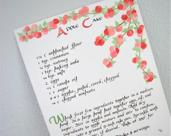 Apple Cake Recipe -- Calligraphy Art Print, Apple and Leaves Illustrated Recipe, Kitchen Decor, Calligraphy Recipe, Kitchen Art Recipe