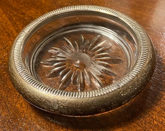 Towle Silversmiths Black Bakelite and Sterling Silver Ashtray Monogrammed JFF