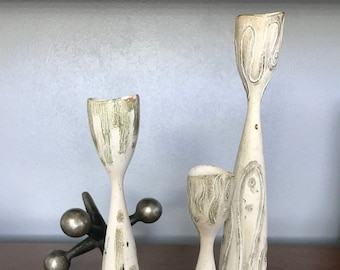 Trio of Distressed Candle Holders - Denmark - Patterned
