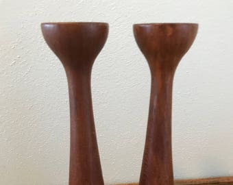 Turned Teak Candle Holders - Denmark