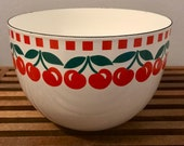 Arabia Finel Vintage Enamel Bowl - Cherries- 1970s