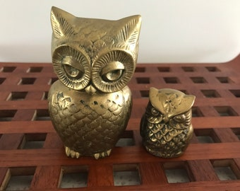 Brass Owl Container with Small Brass Owl