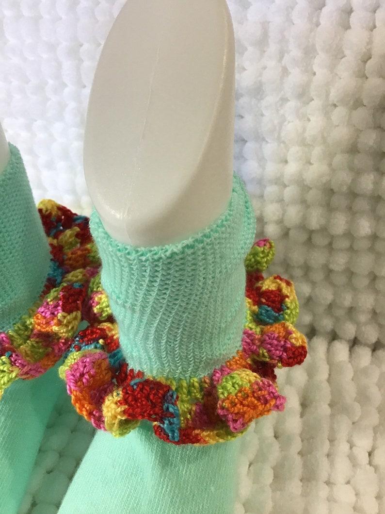 Infant baby girl socks frilly dainty crochet trim