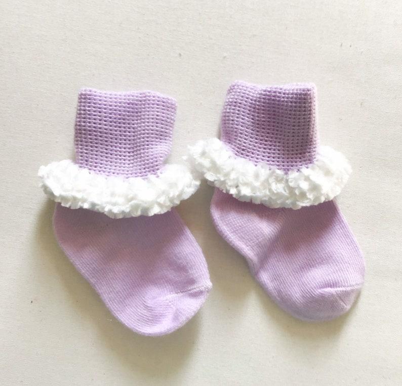 Crochet trimmed babyinfant socks dress size 3 to 6 months