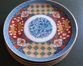Imari Desert Salad Luncheon Plates, Set 4 Matching - 8.5 Inch -1980s Made in Japan for Smithsonian Institution - Museum Pattern - Historical
