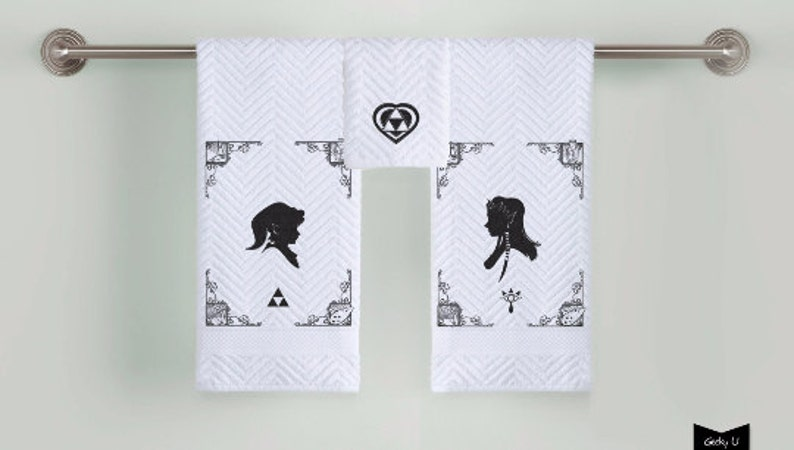 Zelda and Link silhouette Bathroom Towels image 0