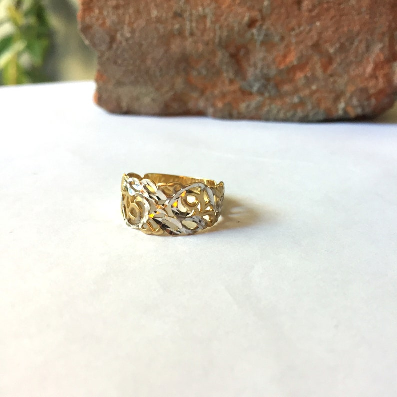 Solid Gold Jewelry Ring White /& Yellow Gold Ring 14K Solid Gold Two Colour Handcut Women Ring