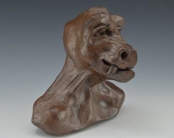 Clay Dragon Sculpture Bust