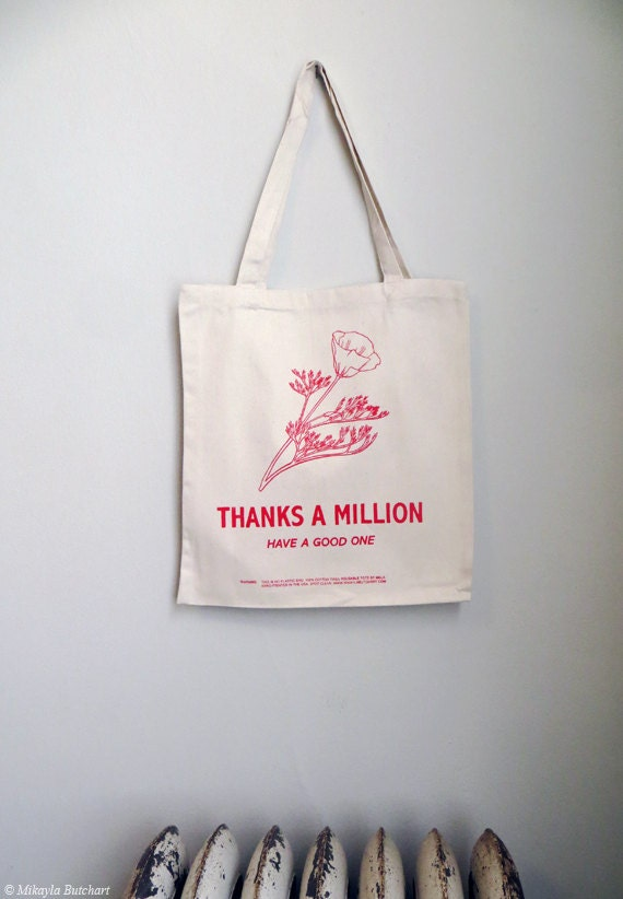 Reusable version of flowered plastic grocery bag Screenprinted Cotton Thank You Tote Now in 2 colors