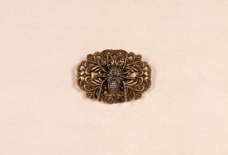 Arachnid Fancy Steampunk Handmade Upcycled Brooch Pin image 0