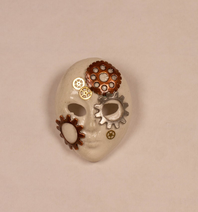 Mask of Gears Steampunk Handmade Upcycled Brooch image 0