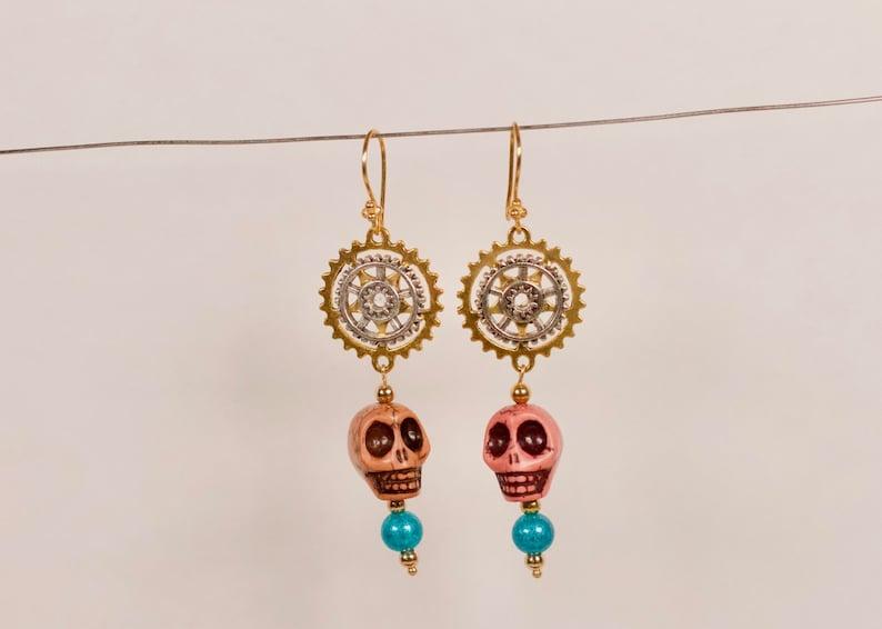 Handmade Upcycled Steampunk Sugar Skull Earrings image 0