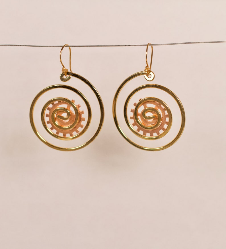 Dizzing Spirals Handmade Steampunk Up-cycled Earrings image 0