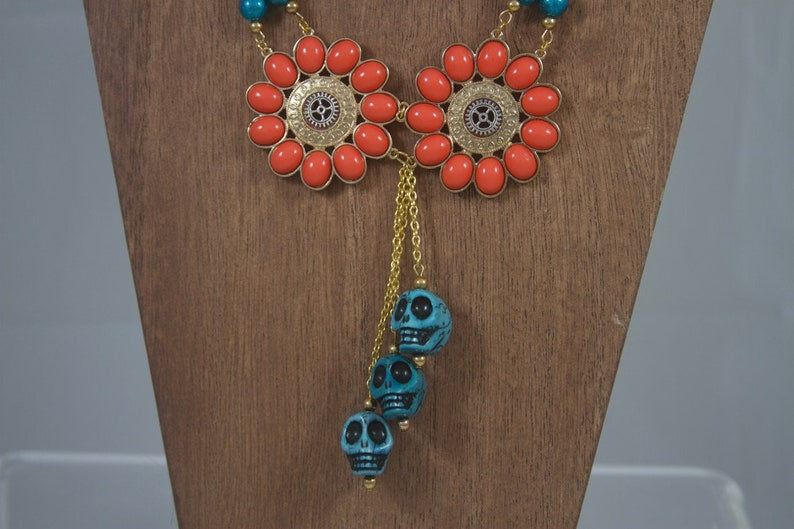Handmade Upcycled Steampunk Necklace of Skulls and Flowers image 0