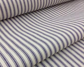 "Blue & White Striped Ticking Fabric/Farmhouse Fabric/60""Wide"