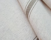 Grain Sack Fabric By The Yard - Farmhouse Fabric - Ticking Fabric - Tan 3 Stripe - Beige Fabric - 54 quot Wide - Upholstery Weight