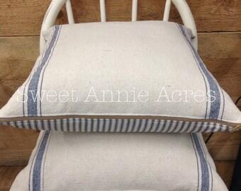 Grain Sack Pillow Cover | Ticking Pillow Cover | Blue Stripe | Cream Fabric | Zipper Closure