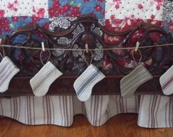Mini Stocking - Tan 3 Stripe