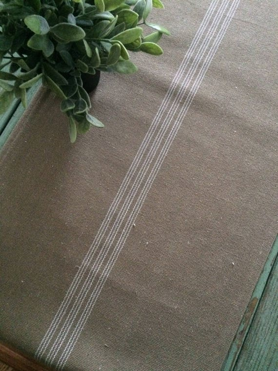 Table RunnerCream Grain Sack FabricTan StripesBeige Fabric