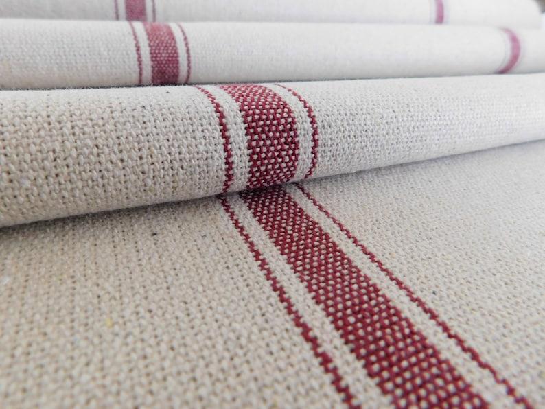 Grain Sack Fabric By The Yard  Farmhouse Fabric  Burgundy 3 image 0