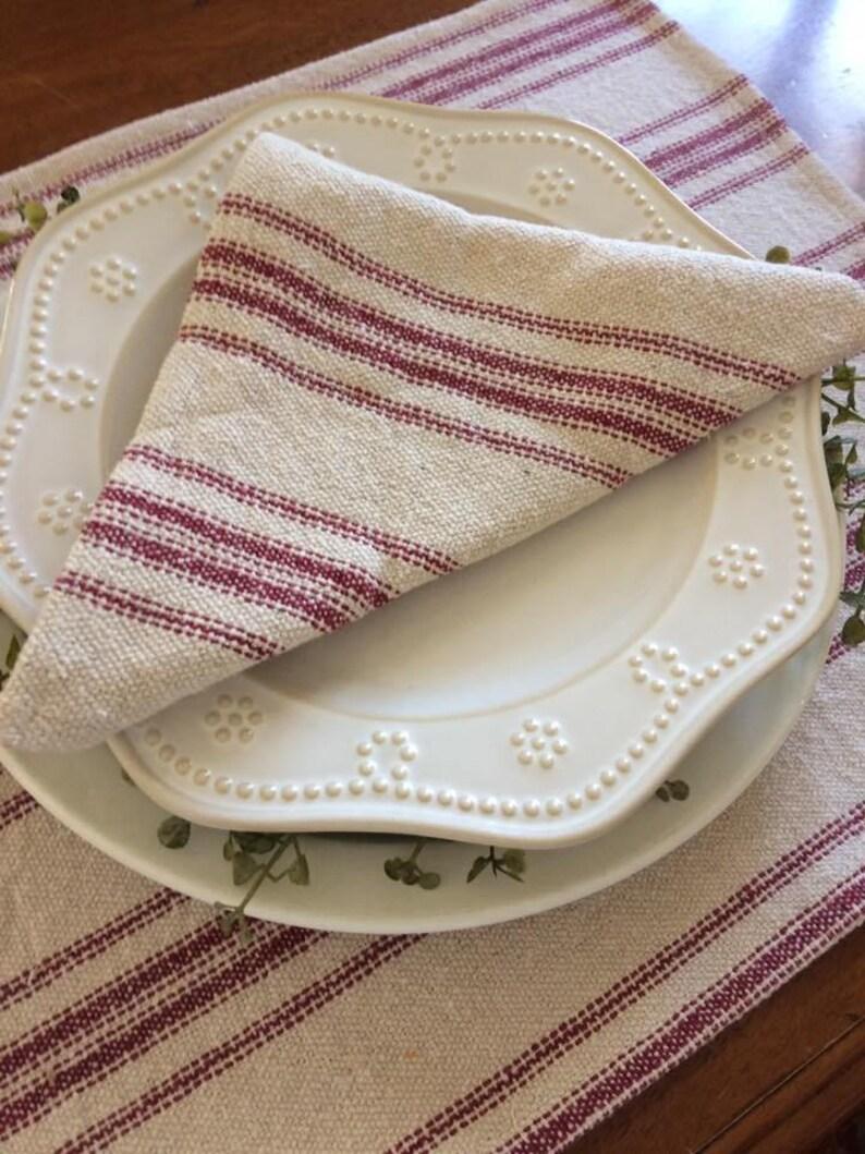 Burgundy 12 Stripe Grain Sack Placemat Farmhouse Placemat Beige Fabric