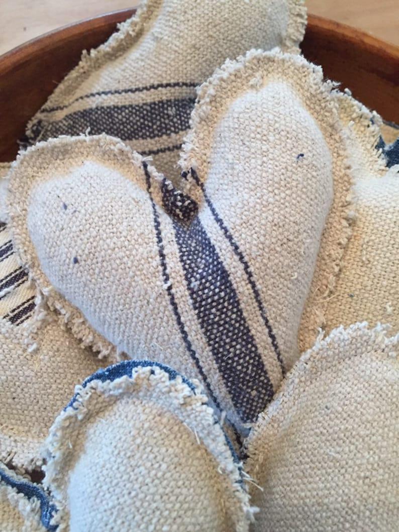 Primitive Heart Bowl Fillers ~ Grain Sack Fabric ~ Farmhouse Ornies