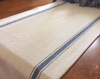 "Table Runner/Cream Grain Sack Fabric/Blue Stripe/15.5"" Wide"