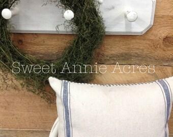 Grain Sack Pillow Cover | Ticking Pillow Cover | Blue 3 Stripe | Ticking Back | Zipper Closure