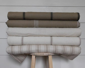 """Grain Sack Fabric By The Yard   Neutral Farmhouse Fabric   Ticking Fabric   54"""" Wide   Upholstery Fabric   CHOOSE YOUR STRIPE"""