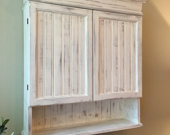 Distressed White Cabinet Bathroom Cabinet Kitchen Cabinet - Distressed bathroom wall cabinet