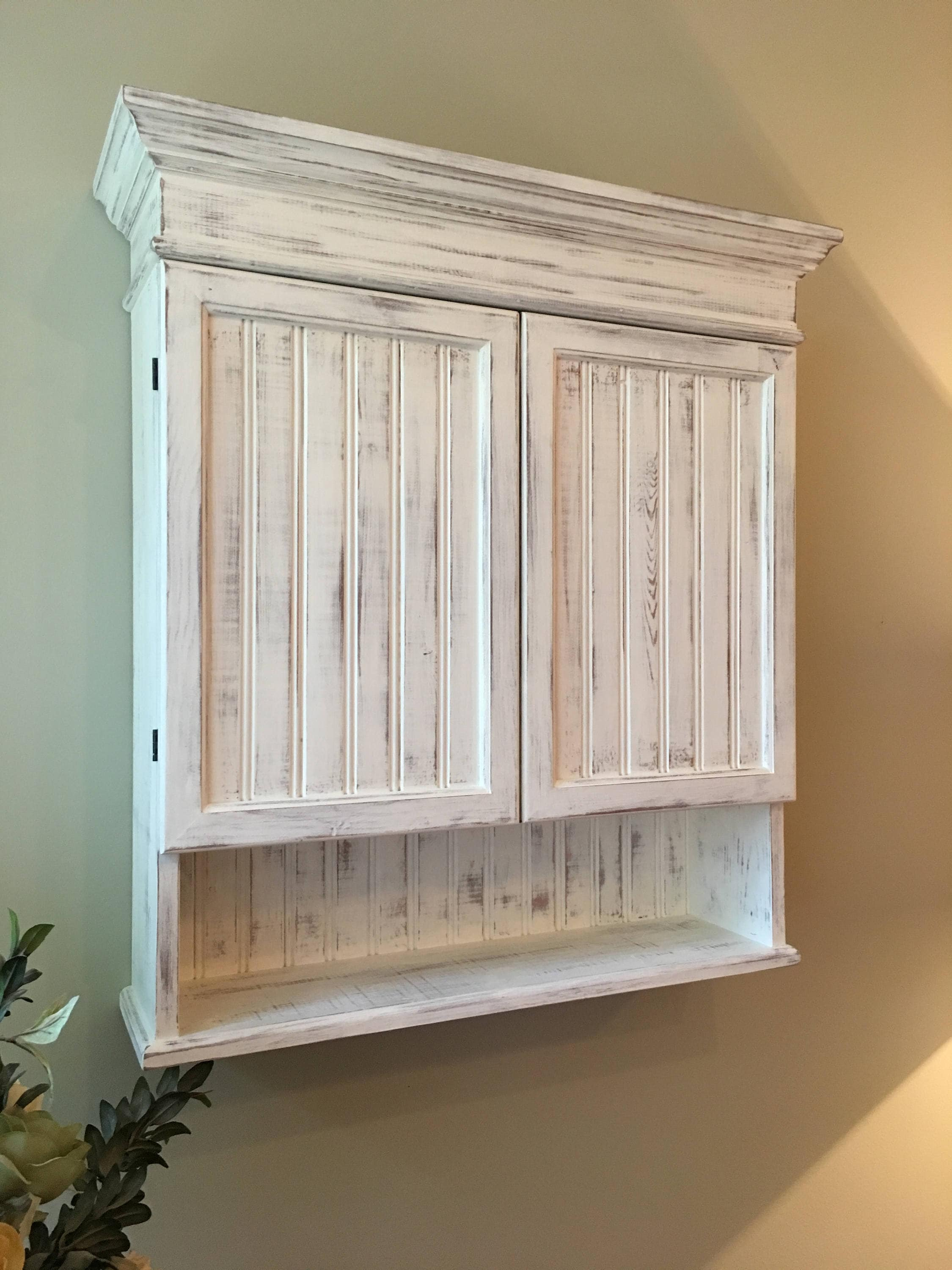 Distressed White Cabinet Bathroom Cabinet Kitchen Cabinet ...