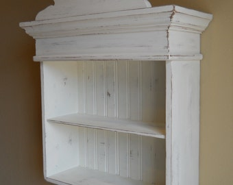Distressed White Cabinet, Bathroom Cabinet, Kitchen Cabinet, Hanging Wall Cabinet, Shabby Chich Cabinet, Decorative Wall Cabinet