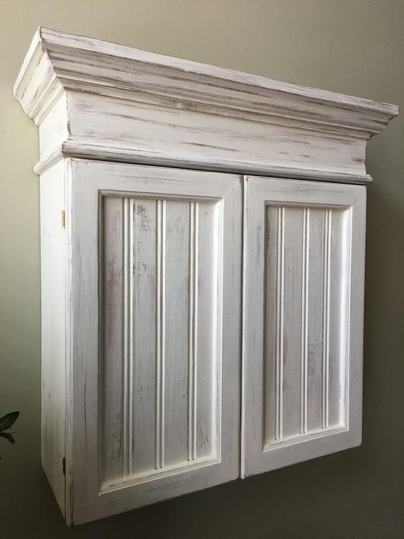 Distressed White Cabinet Bathroom Cabinet Kitchen Cabinet Etsy