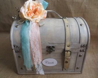Very large Shabby Chic Cream Wedding Trunk, Wedding Card Holder, Money Holder, Money Box, Wedding Suitcase, Rustic Wedding