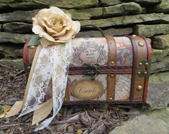 Medium Vintage Style Travel Wedding Trunk, Wedding Card Holder, Card Box, Money Holder, Money Box, Wedding Suitcase, Rustic Wedding Box