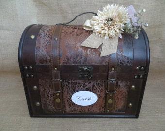 Pick Your Ribbons & Flowers- Very Large Rustic Wedding Trunk, Wedding Card Holder, Card Box, Money Holder, Money Box, Wedding Suitcase