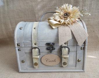 Shabby Chic Cream Wedding Trunk, Wedding Card Holder, Baby Shower Card Box, Money Holder, Money Box, Wedding Suitcase, Rustic Wedding Box