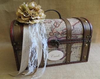 Vintage Style Travel Wedding Trunk, Wedding Card Holder, Card Box, Money Holder, Money Box, Wedding Suitcase, Rustic Wedding Box