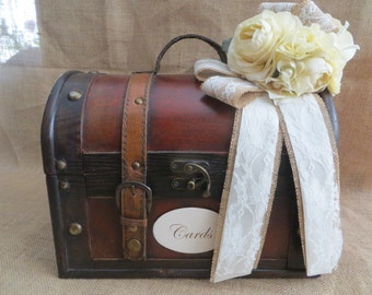 Pick Your Ribbons & Flowers - Wedding Trunk, Wedding Card Holder, Card Box, Money Holder, Money Box, Wedding Suitcase, Rustic Wedding Box