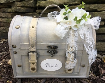 Shabby Chic Cream Wedding Trunk, Wedding Card Holder, Card Box, Money Holder,  Wedding Suitcase, Rustic Wedding Box