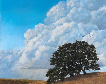 Original landscape oil painting, Thunder Clouds Mt. Diablo, California